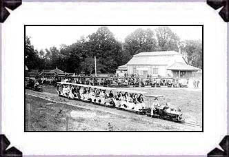 1909 miniature trains and Vegetarian Restaurant (right) at Eden Springs Park.