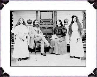 Benjamin and Mary Purnell with two Israelite school girls on Bethlehem porch.