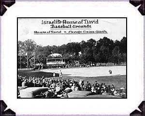 Israelite House of David vs. the Chicago Union Giants, a famous Black leagues team. Picture from the 1920s at the House of David ballpark on the colony grounds.