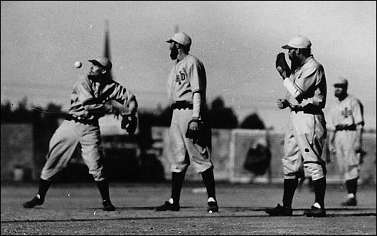 The Pepper Game of the 1930s; L-R, George Anderson, John Tucker, Doc Tally. Tally created the exhibition, and brought it to its perfection with these Israelite players during the decade of the 1930s. The game stopped at fifth inning to see a performance that was both uniquely clever as it was expertly executed.