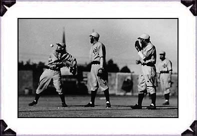 The Pepper Game of the 1930s; L-R, George Anderson, John Tucker, Doc Tally. Tally created the exhibition, and brought it to its perfection with these Israelite players during the 1930s. The game stopped at fifth inning to see a performance that was both uniquely clever as it was expertly executed.