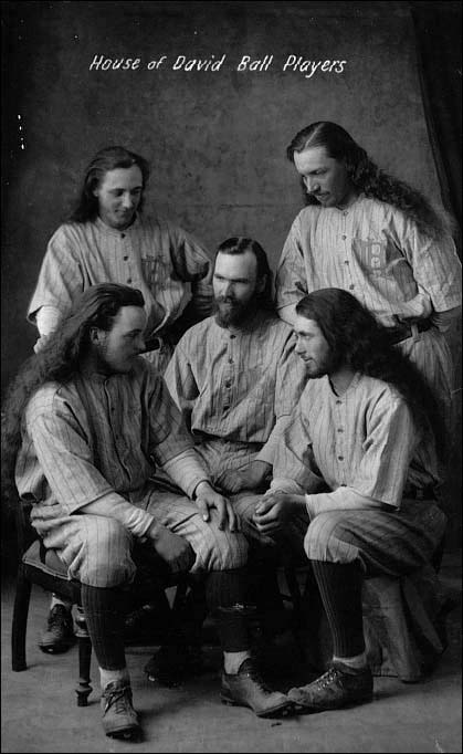 Israelite ball players from the early 1920s. Center and seated, Cookie Hannaford; clockwise, seated left; Dutch Faust, Zeke Baushke, Andy Bell, and David Harrison.