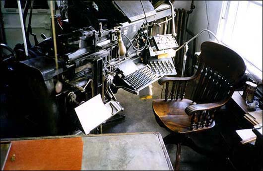 Linotype Machine In the Printshop, Mary's City Of David