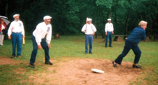Michigan Governor, Jennifer Granholm, visits Mary's City of David on her 'Hidden Treasures of Michigan' tour, June 10, 2004. She told 'Captain' Taylor in Lansing, her batting average wasn't so hot, but she could run. Here she is connecting with the ball down to first base. So lightning fast is the Governor that she didn't bother to beat the ball to first. Actually, quite humble and lotsa pzazz...