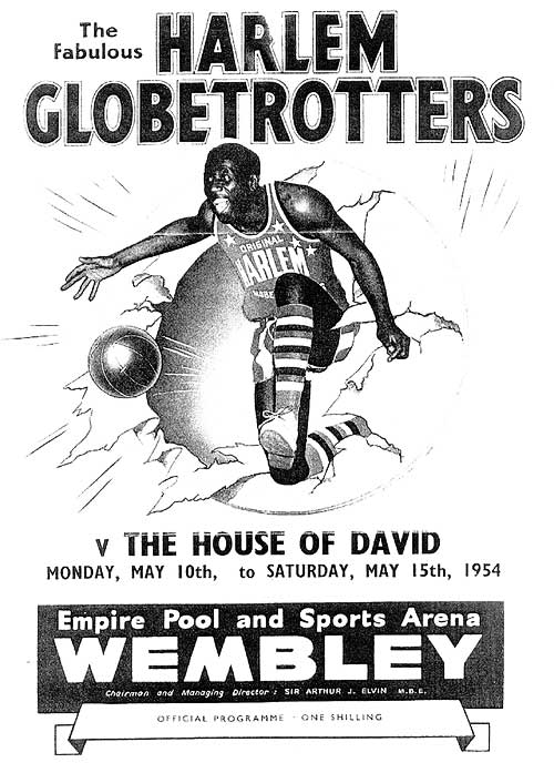 Advertising poster for the week of May 10th, 1954, in London, as George Anderson's House of David basketball team played exhibitions across Europe in their last major touring season.