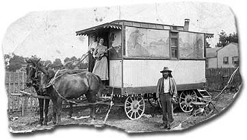 1902 at Fostoria, Ohio, Mary and Benjamin's last means of transportation during a 7 year sojourn on the road as itinerant preachers.