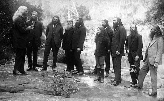 Circa 1920s, Israelite preachers at Sydney, Australia, colony at North Ryde. To the left, leading the sermon is Brother Jimmie Taylor, of the Israelite House of David, who often preached sermons in the Domain at Sydney on Sunday afternoons.