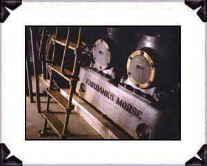 The Fairbanks Morse diesel, 2 cylinder, electrical generator is in the colony powerhouse that is under reconstruction. The smaller back-up generator is being restored for active duty once again as in 1934.