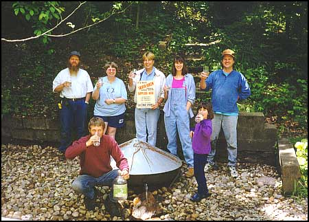 Volunteer day (local residents that have volunteered their services in aiding our restorations) in June 1998 at the Silver Queen Spring, developed in 1883 and still the best water in the region. It serves as or table water at our Vegetarian lunches.