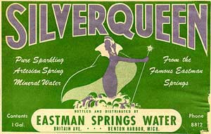 Label from the famous Silver Queen artesian wells. Label predates 1920, for a one gallon water jug.