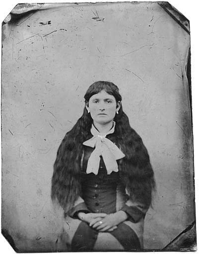 A tin type from mid-1870s of Mary Stallard, then in her early teens. She would marry Benjamin Purnell at Aberdeen, Ohio in 1880. They together would co-author the Star of Bethlehem, and co-found the Israelite House of David.